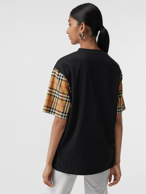 Vintage Check-sleeve Cotton Oversized T-shirt in Black - Women | Burberry Canada - cell image 2