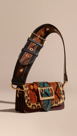Sac The Patchwork en peau de serpent et cuir velours texturé