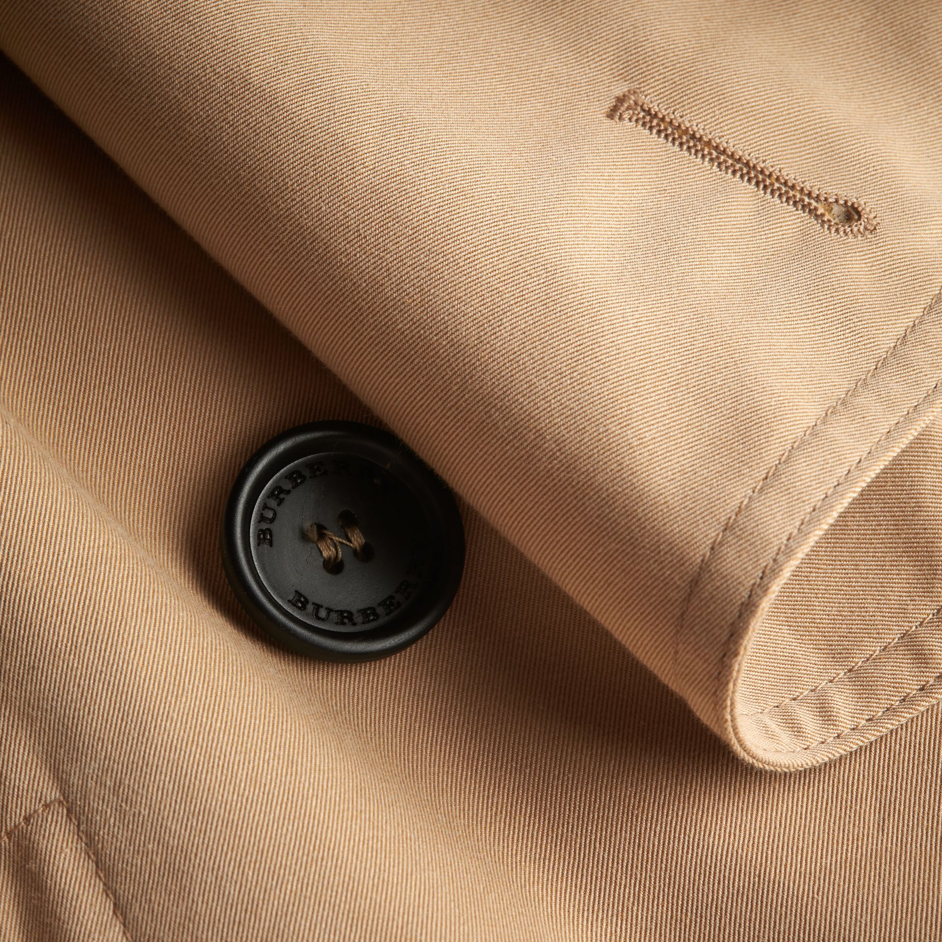 Curved Closure Cotton Gabardine Coat in Honey - Women | Burberry - gallery image 1