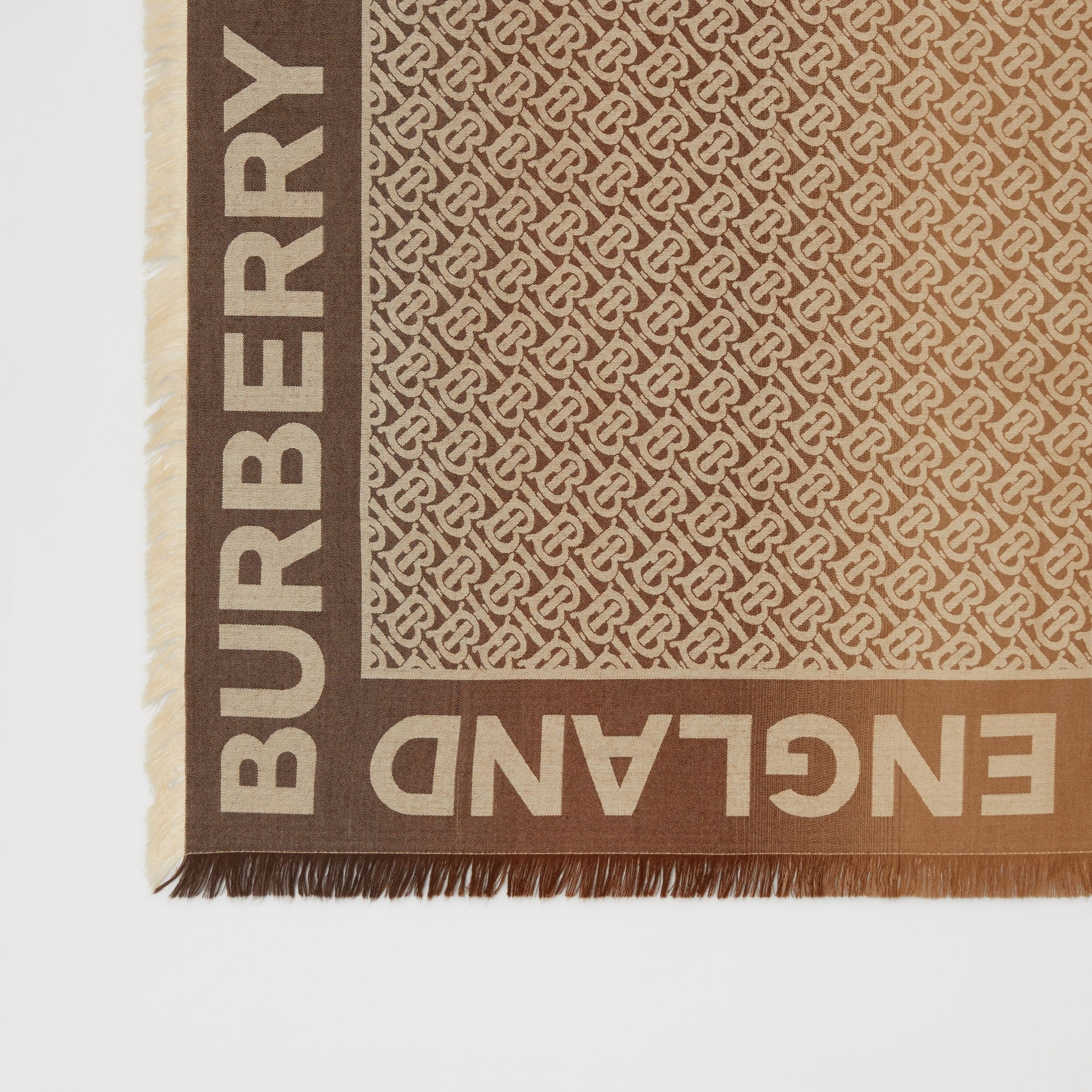 Monogram Silk Wool Jacquard Large Square Scarf in Archive Beige | Burberry Hong Kong S.A.R. - 2