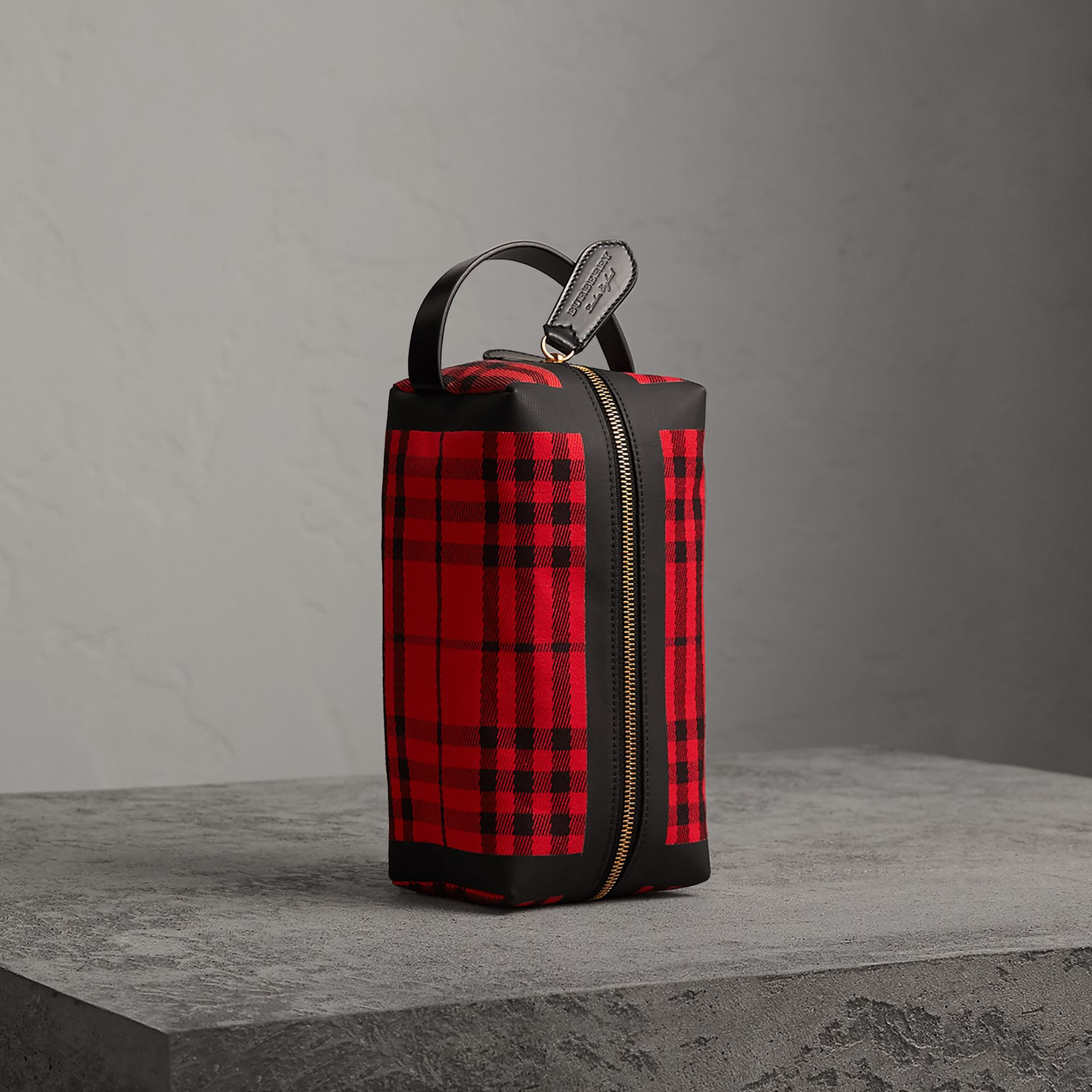 Tartan Cotton Pouch in Military Red | Burberry United States - gallery image 0