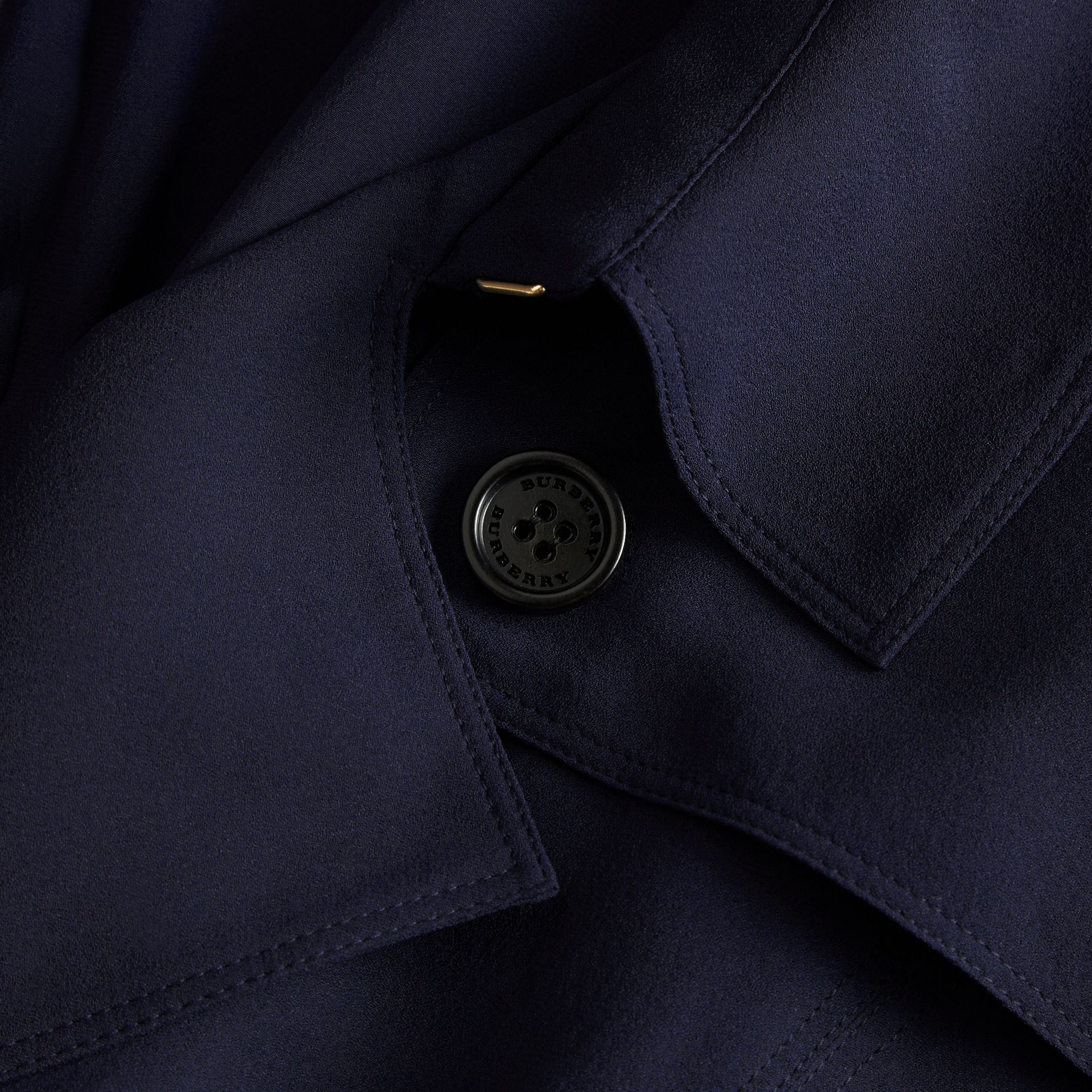 Navy Silk Trench Dress Navy - gallery image 2