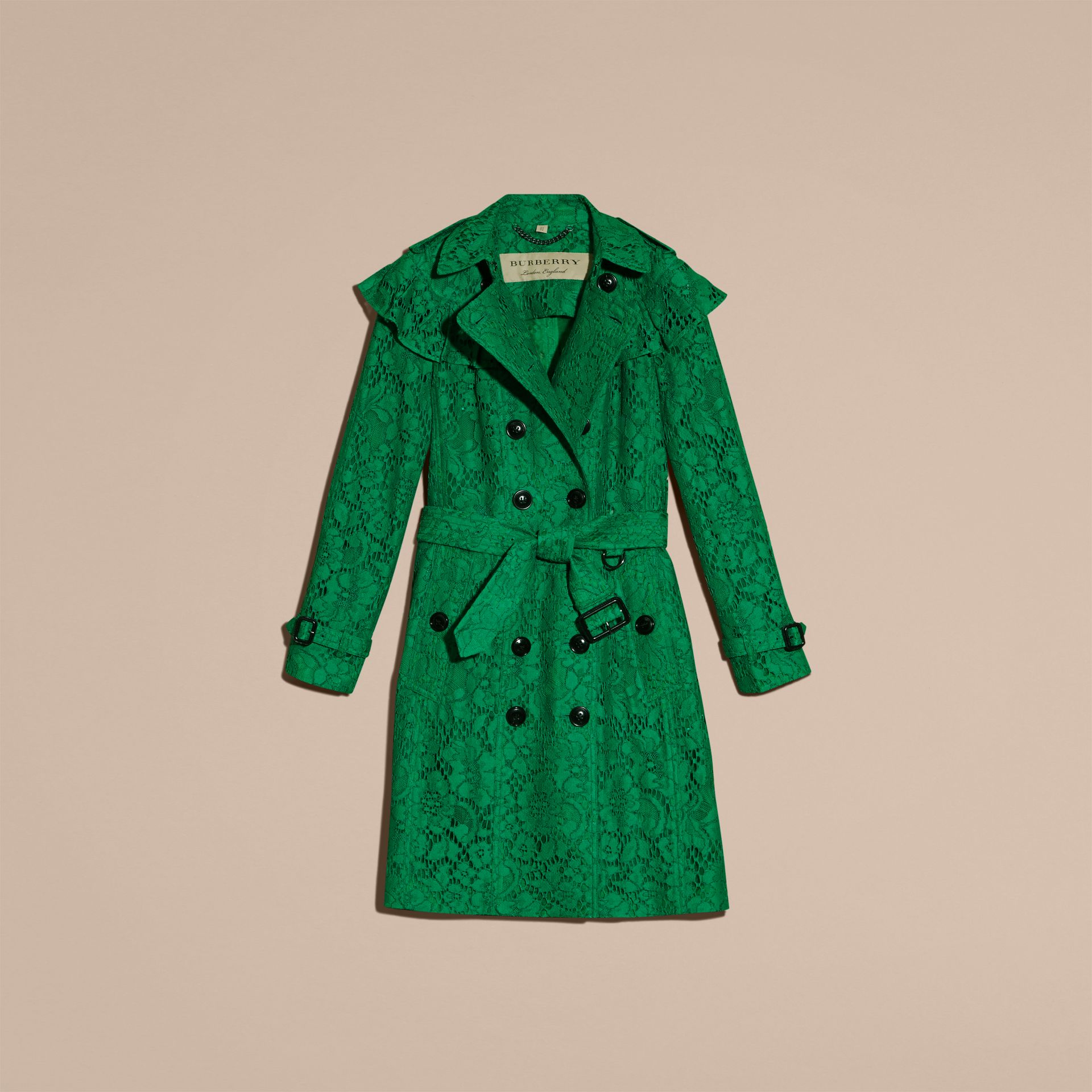 Ruffle Detail Macramé Lace Trench Coat Kelly Green - gallery image 4