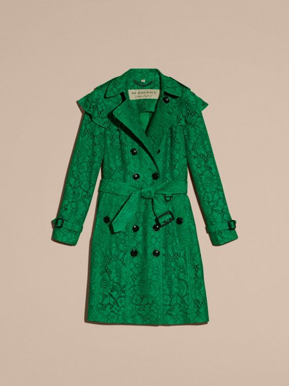 Ruffle Detail Macramé Lace Trench Coat Kelly Green - cell image 3