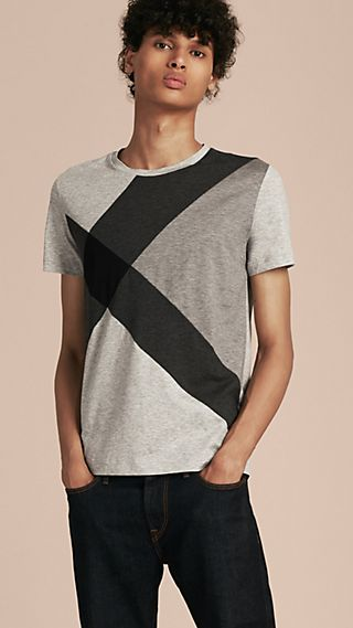Exploded Check Print Cotton T-shirt