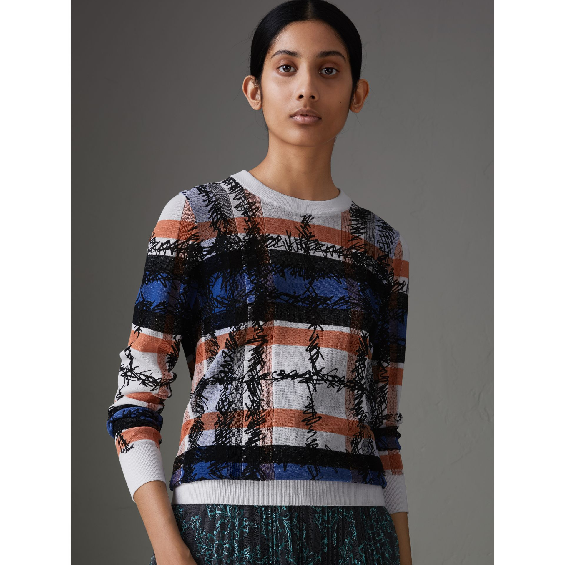 Scribble Check Cotton Sweater in Cobalt Blue - Women | Burberry Canada - gallery image 1