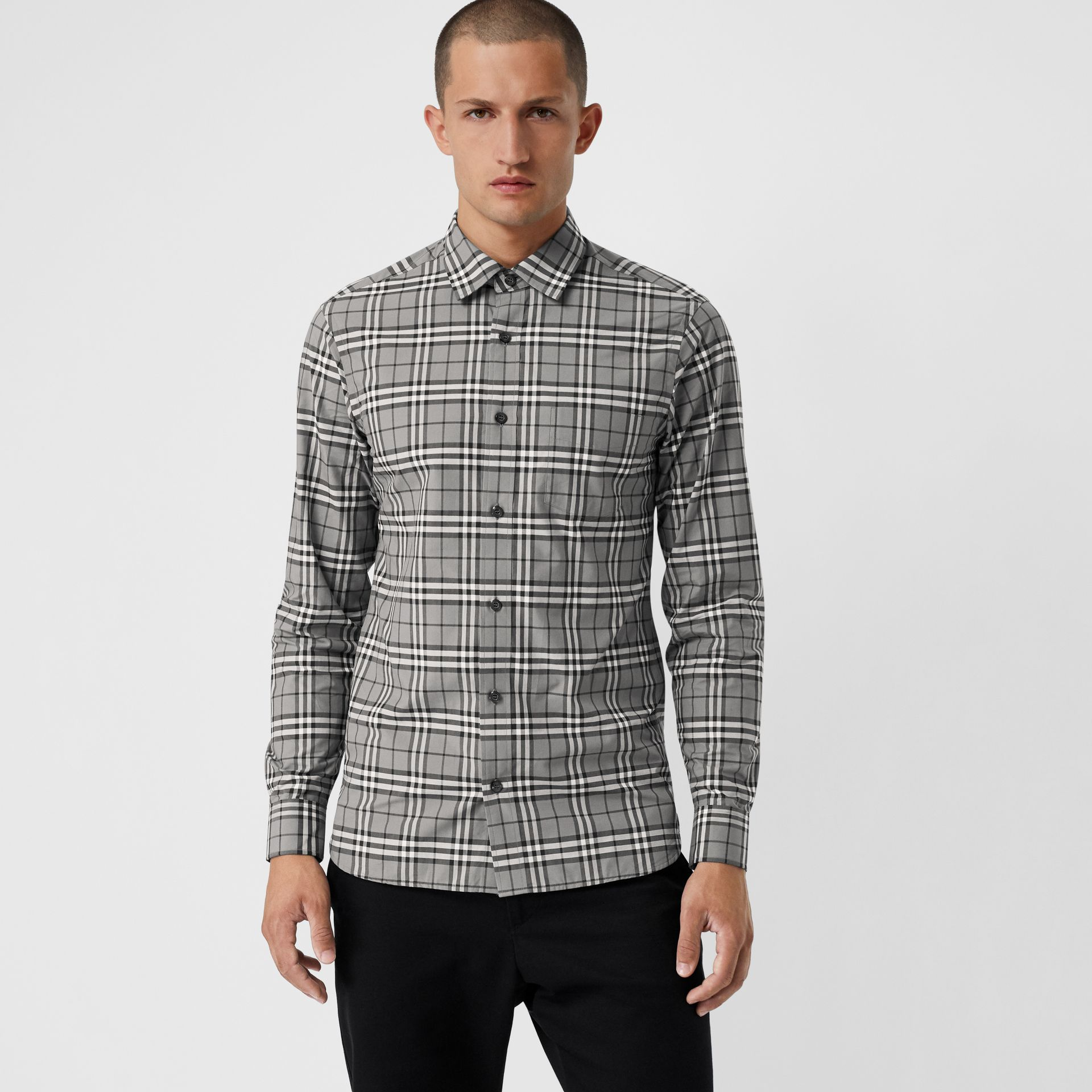 Check Cotton Shirt in Charcoal - Men | Burberry - gallery image 0