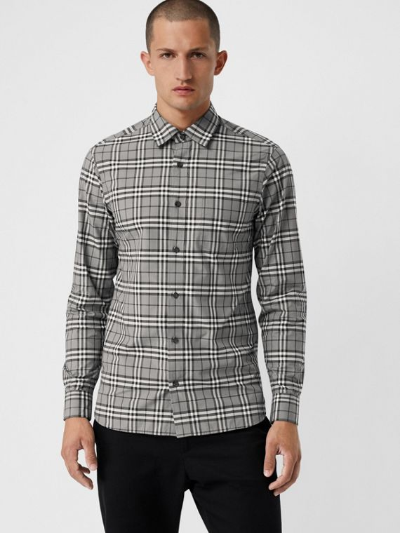 Check Cotton Shirt in Charcoal