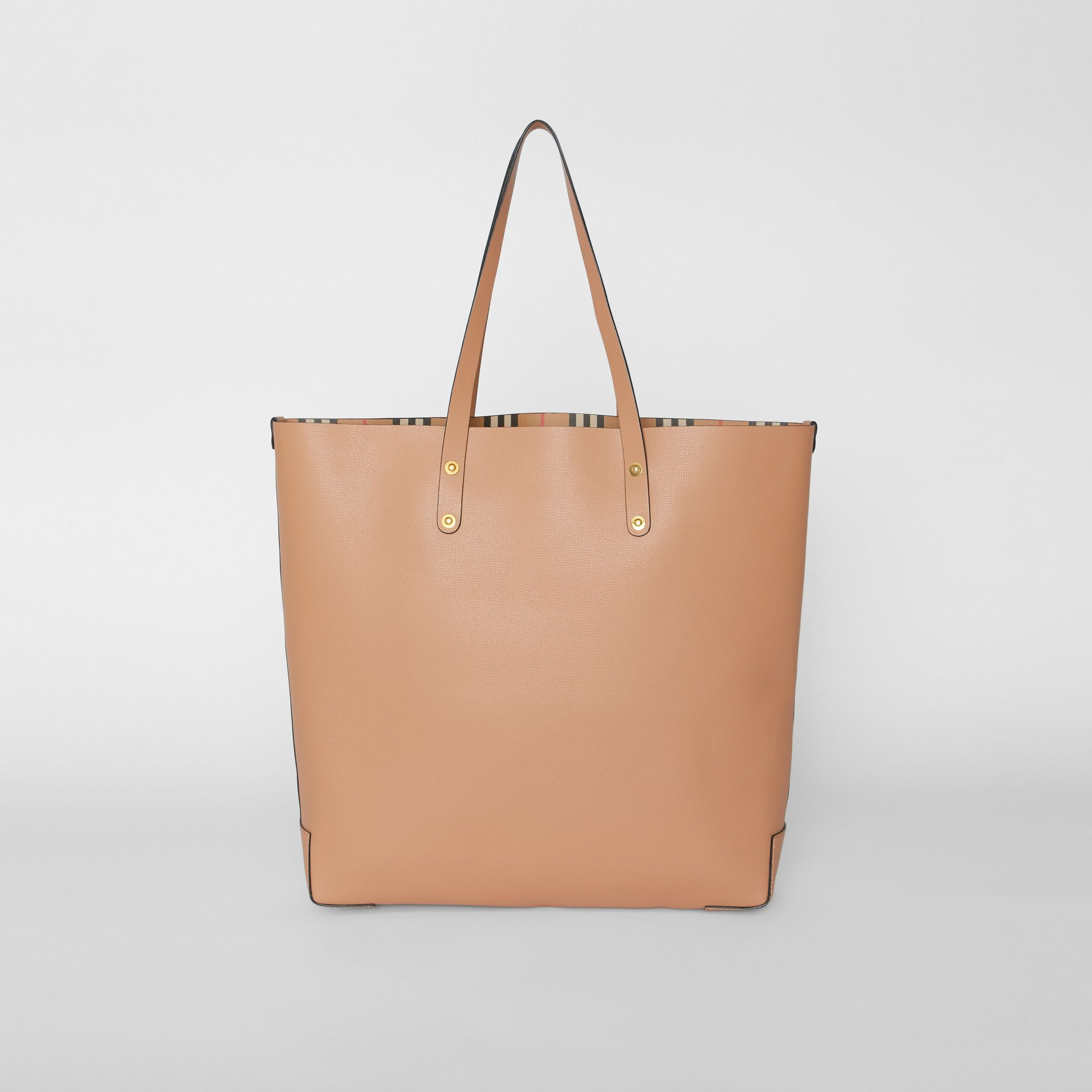 Large Embossed Crest Leather Tote in Light Camel - Women | Burberry - gallery image 7