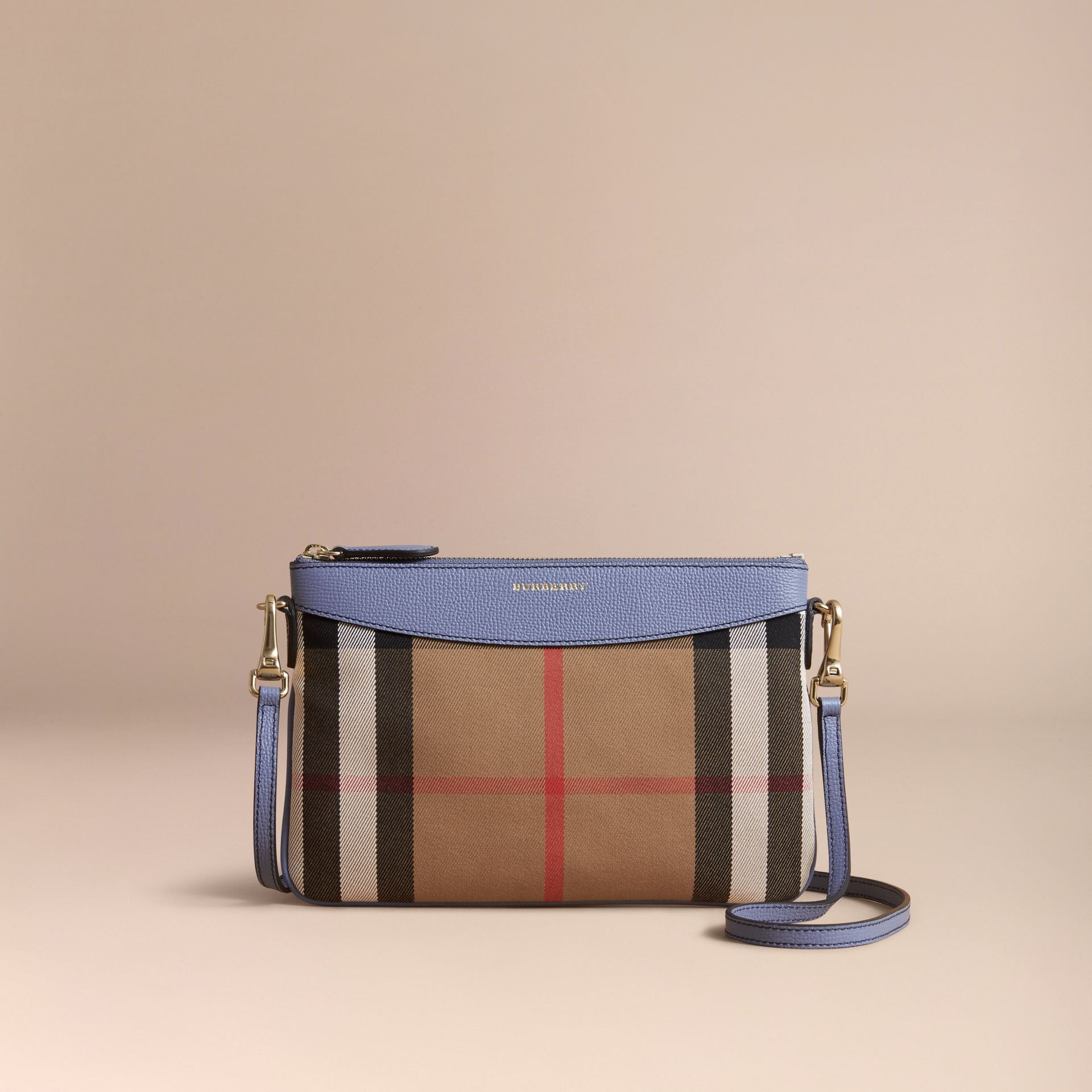 House Check and Leather Clutch Bag in Slate Blue - Women | Burberry - gallery image 7