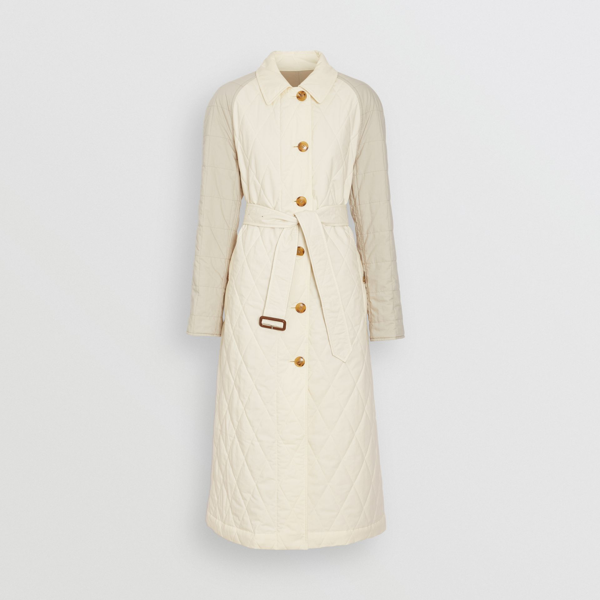 Reversible Contrast Sleeve Quilted Cotton Car Coat in Natural White - Women | Burberry - gallery image 3