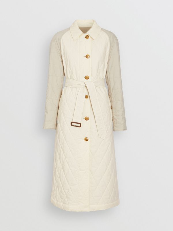 Reversible Contrast Sleeve Quilted Cotton Car Coat in Natural White - Women | Burberry - cell image 3