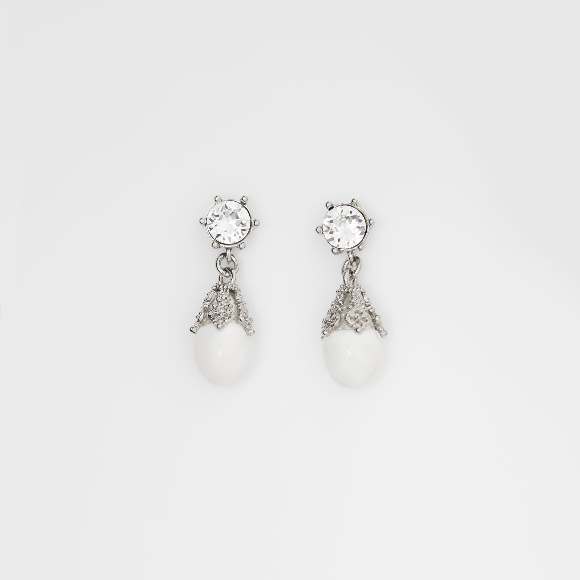 Palladium-plated Faux Pearl Charm Earrings in White/palladium - Women | Burberry Canada - gallery image 0