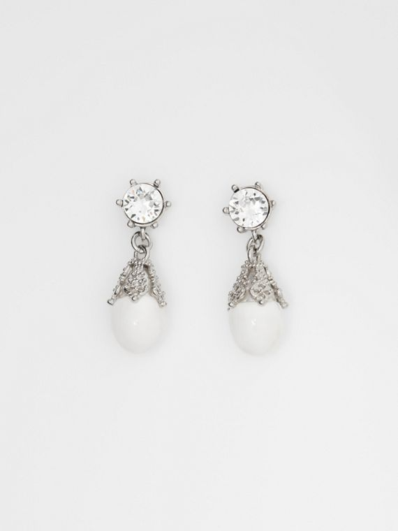 Palladium-plated Faux Pearl Charm Earrings in White/palladium