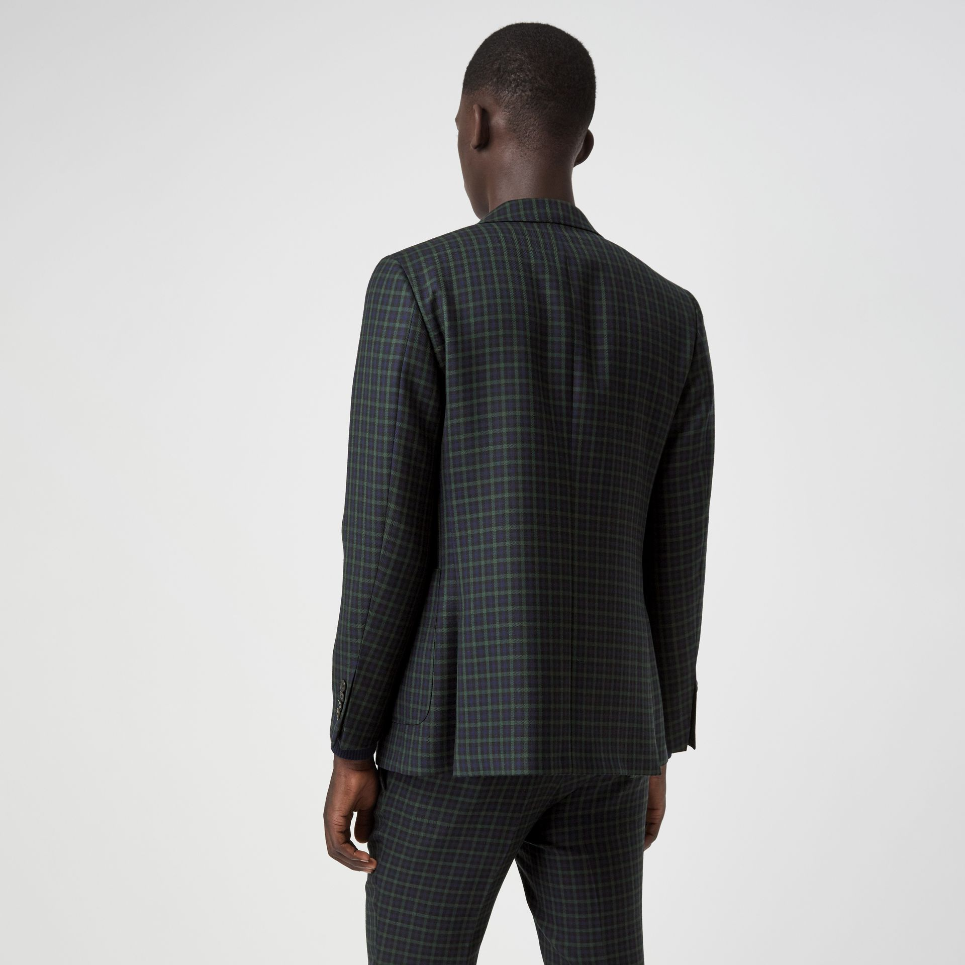Slim Fit Tartan Wool Tailored Jacket in Navy - Men | Burberry - gallery image 2