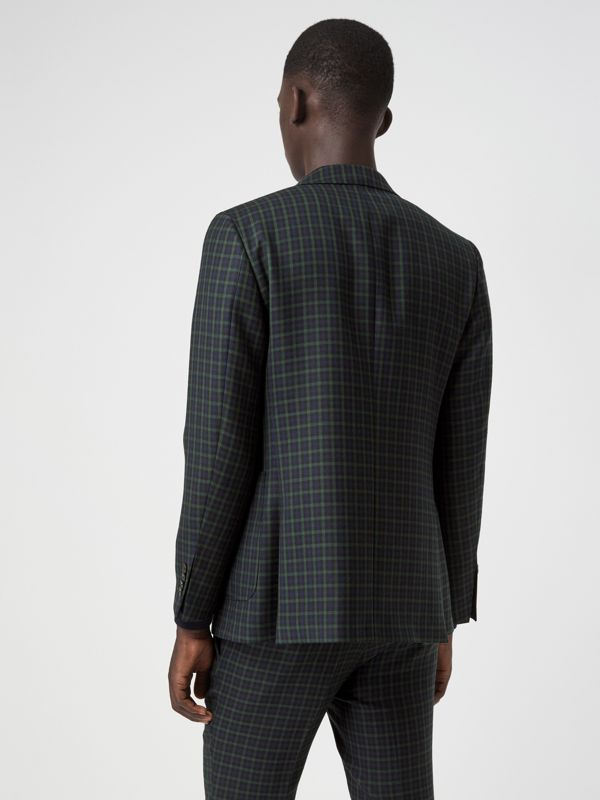 Slim Fit Tartan Wool Tailored Jacket in Navy - Men | Burberry - cell image 2