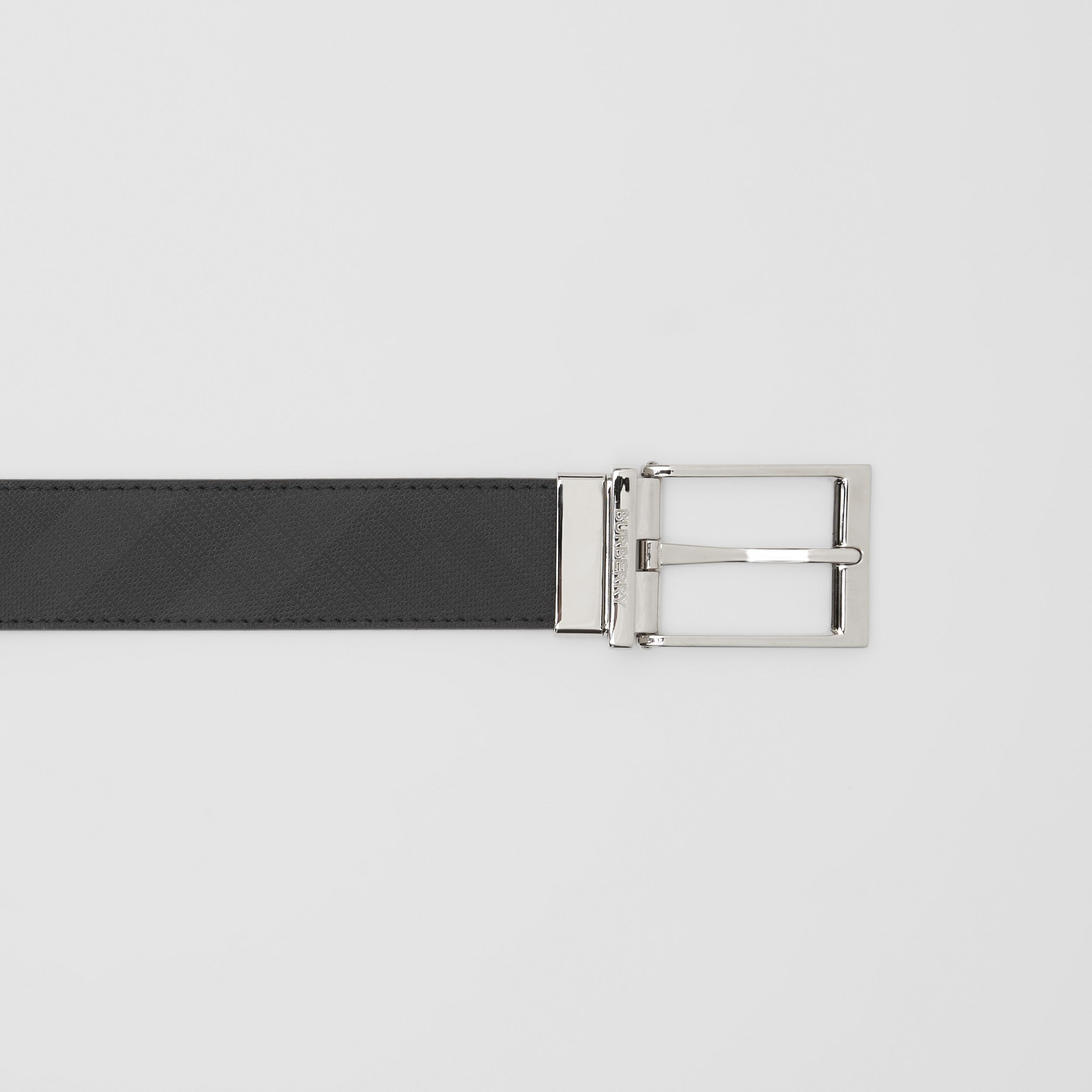 Reversible London Check and Leather Belt in Dark Charcoal/black - Men | Burberry Canada - 2
