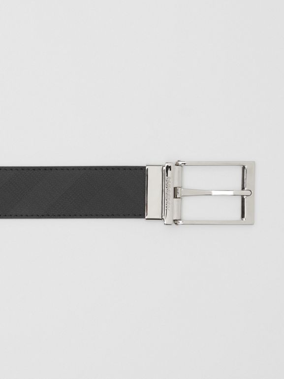 Reversible London Check and Leather Belt in Dark Charcoal/black - Men | Burberry - cell image 1