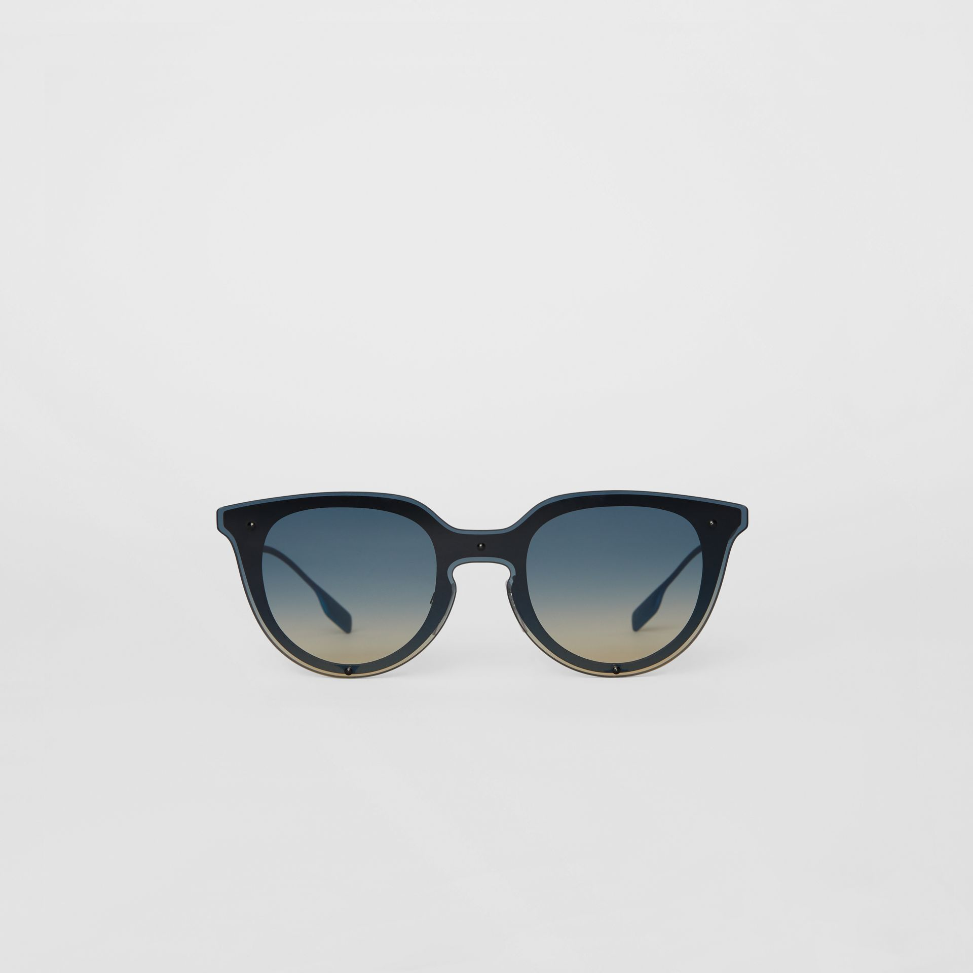 Keyhole Round Frame Shield Sunglasses in Blue - Women | Burberry United Kingdom - gallery image 0