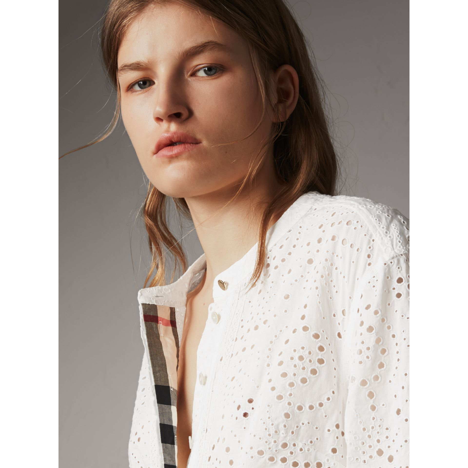 Collarless Broderie Anglaise Shirt Dress in White - Women | Burberry - gallery image 4