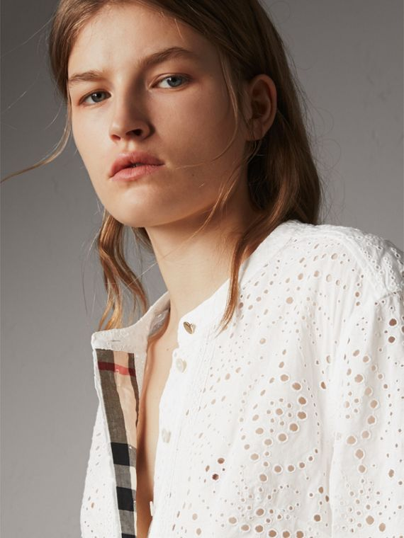 Collarless Broderie Anglaise Shirt Dress in White - Women | Burberry - cell image 3
