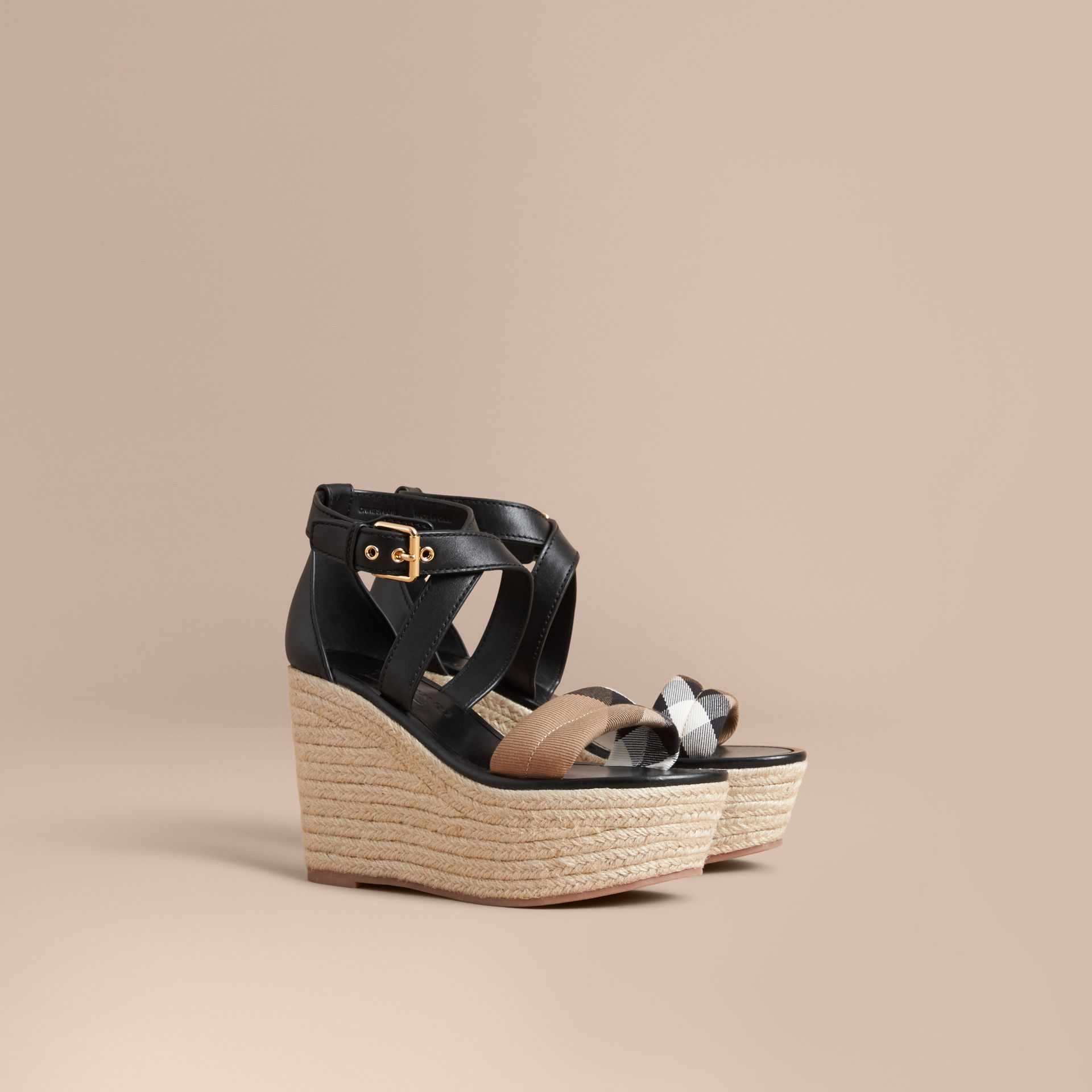 Leather and House Check Platform Espadrille Wedge Sandals in Black - Women | Burberry - gallery image 1