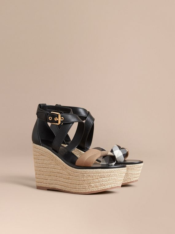 Leather and House Check Platform Espadrille Wedge Sandals in Black