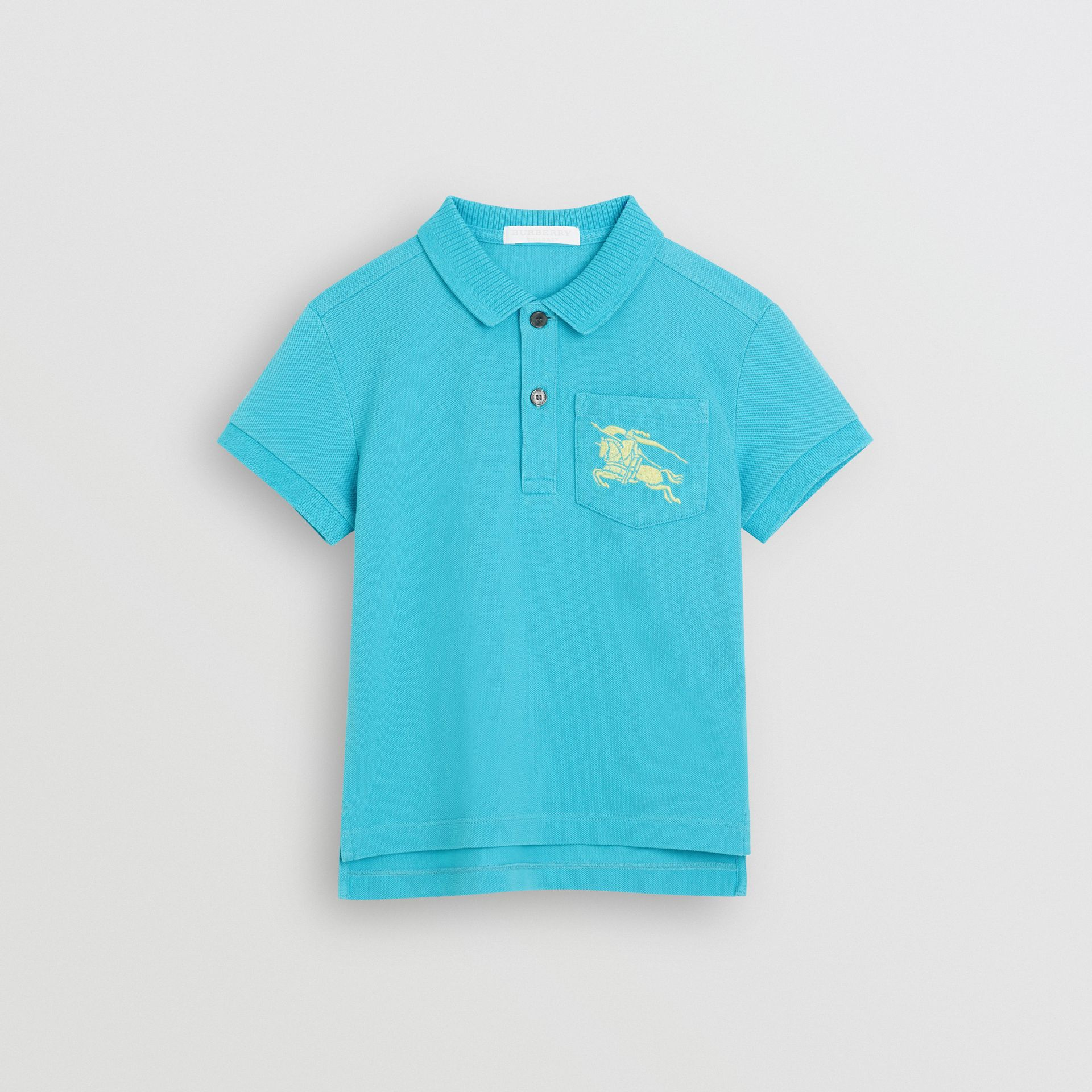 EKD Logo Cotton Piqué Polo Shirt in Bright Cyan Blue | Burberry - gallery image 0