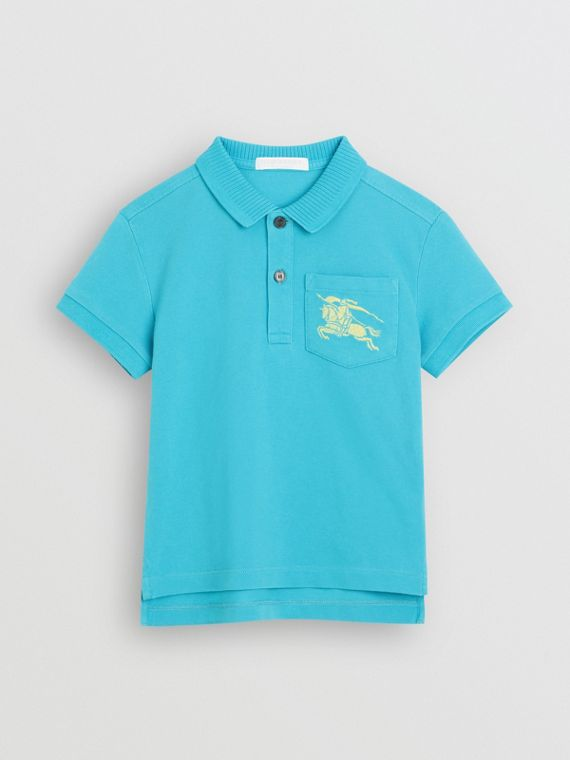EKD Logo Cotton Piqué Polo Shirt in Bright Cyan Blue