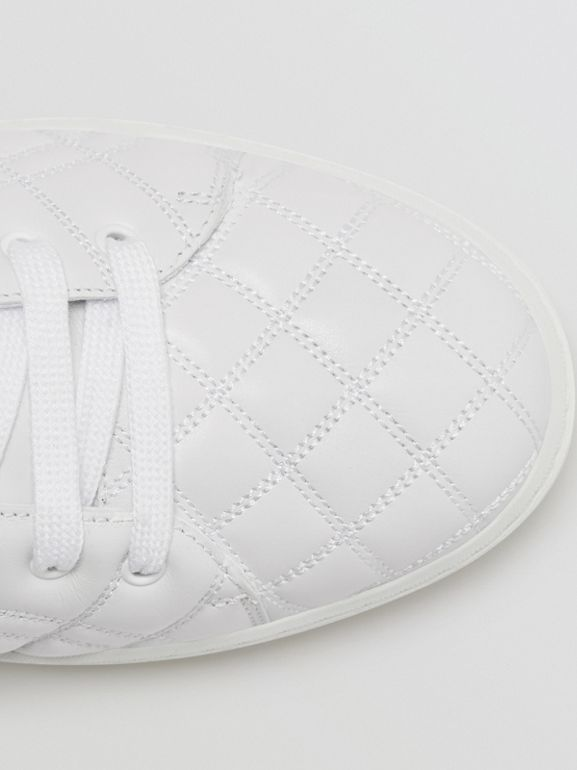 Check-quilted Leather High-top Sneakers in Optic White - Women | Burberry United Kingdom - cell image 1
