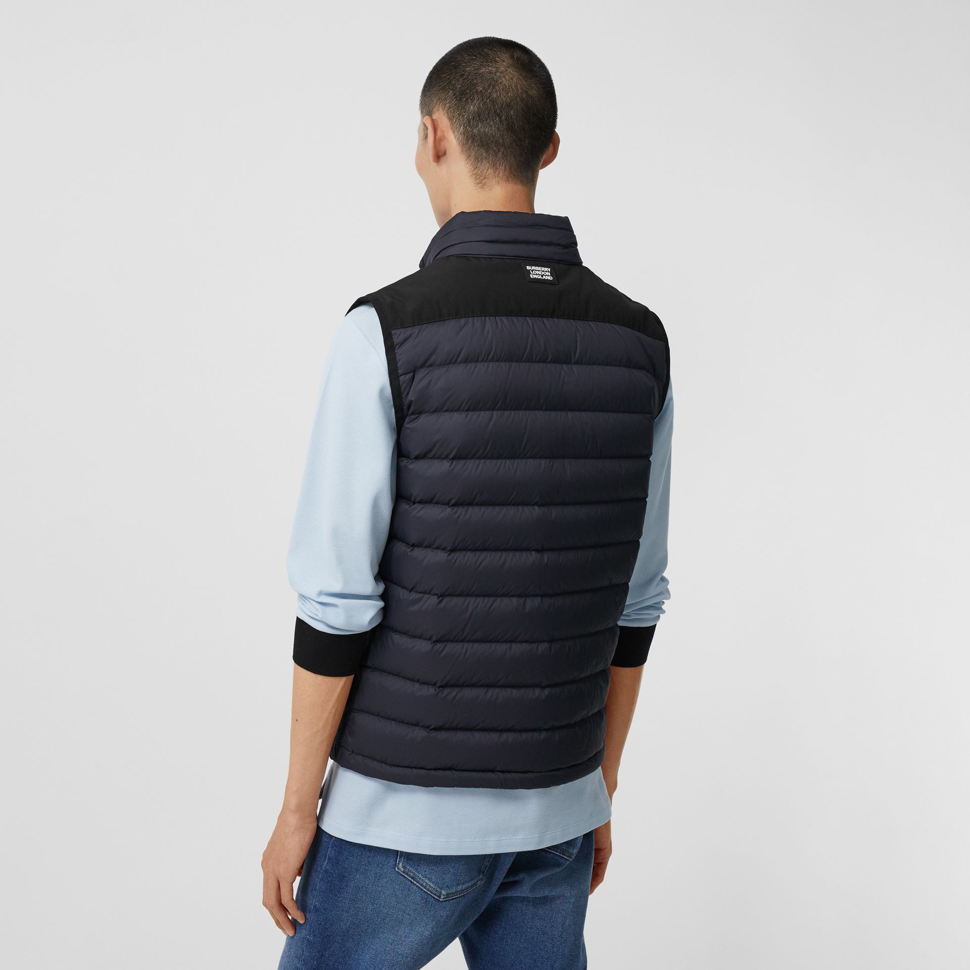 Logo Graphic Puffer Gilet in Navy - Men | Burberry - gallery image 2