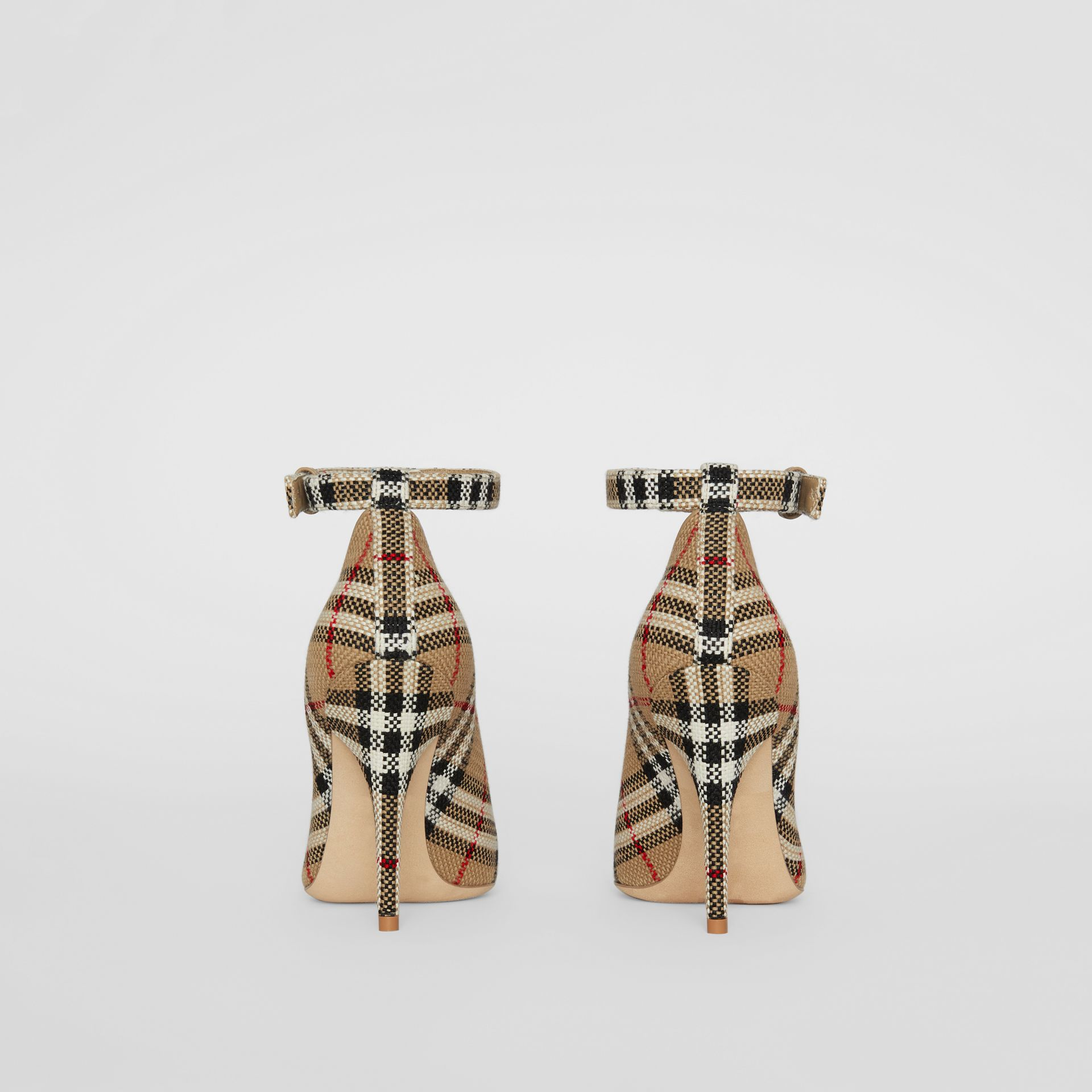 Vintage Check Peep-toe Pumps in Archive Beige - Women | Burberry - gallery image 4