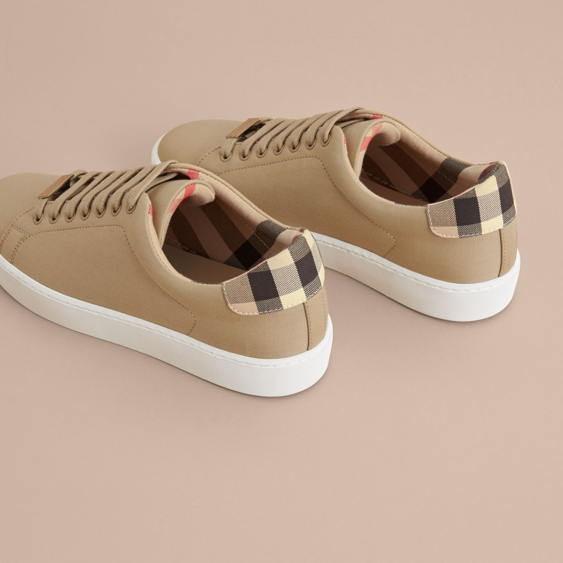 Check Detail Cotton Trainers in Honey - Women | Burberry United Kingdom - gallery image 3