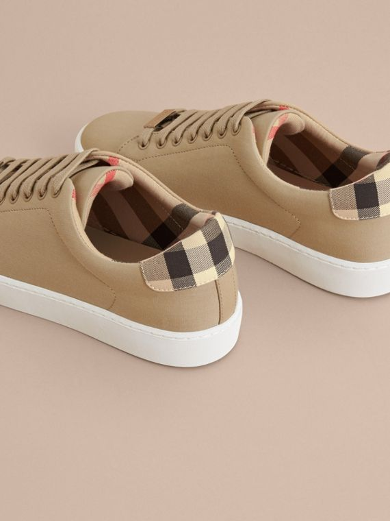 Check Detail Cotton Trainers in Honey - Women | Burberry United Kingdom - cell image 3