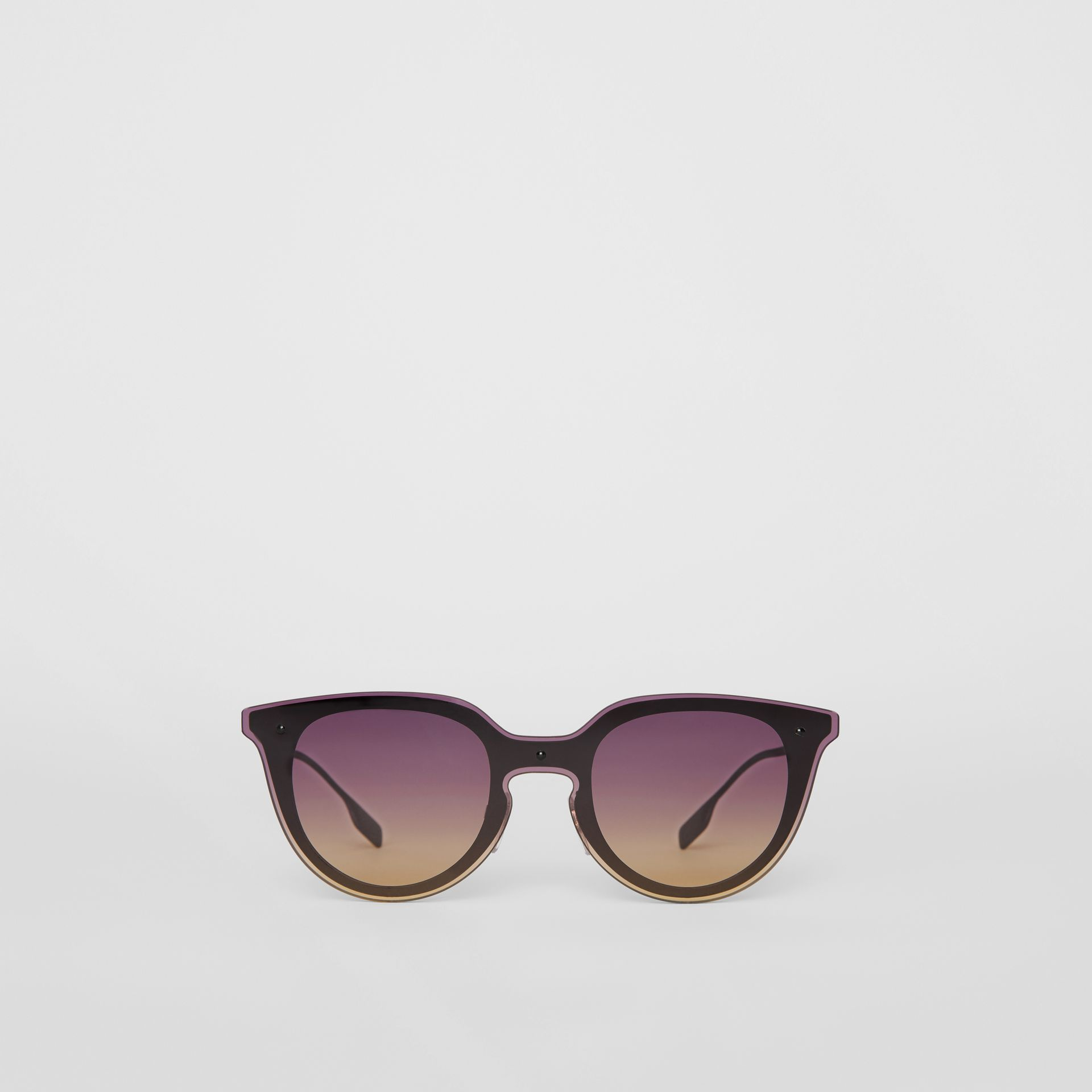 Keyhole Round Frame Shield Sunglasses in Purple - Women | Burberry United States - gallery image 0