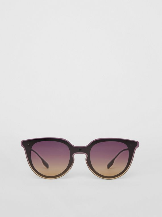 Keyhole Round Frame Shield Sunglasses in Purple
