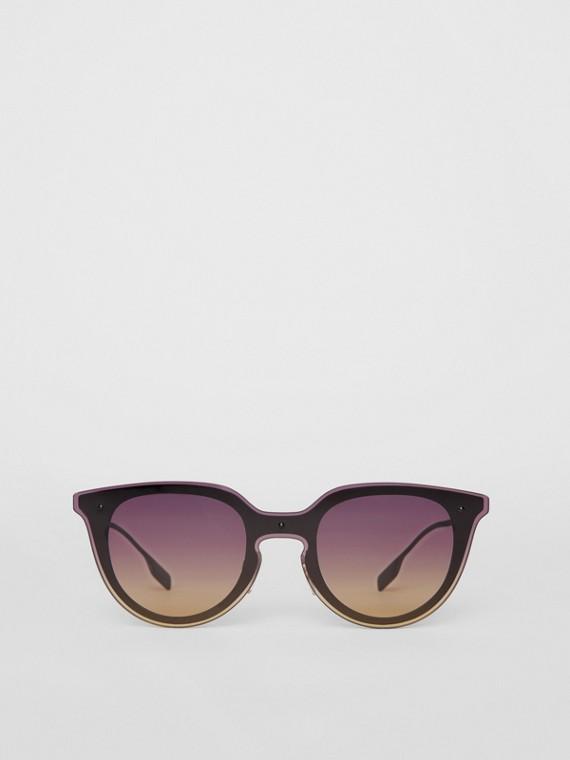 Runde Shield-Sonnenbrille mit Schlüssellochsteg (Violett)