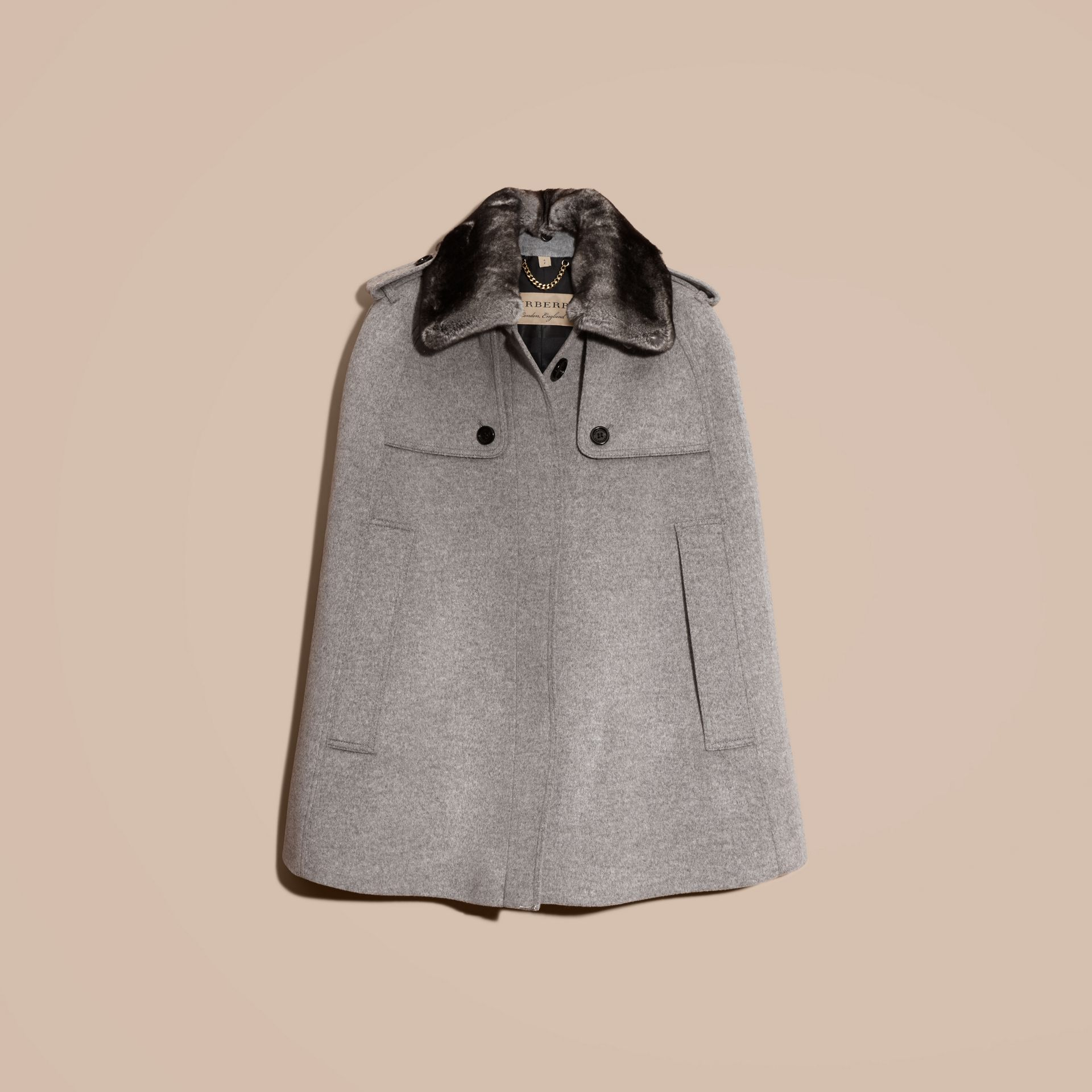 Pale grey melange Wool Cashmere Trench Cape with Detachable Fur Collar - gallery image 4