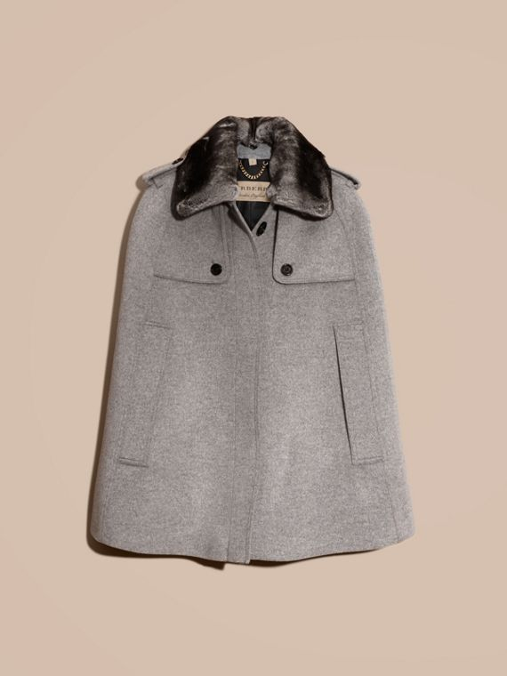 Pale grey melange Wool Cashmere Trench Cape with Detachable Fur Collar - cell image 3