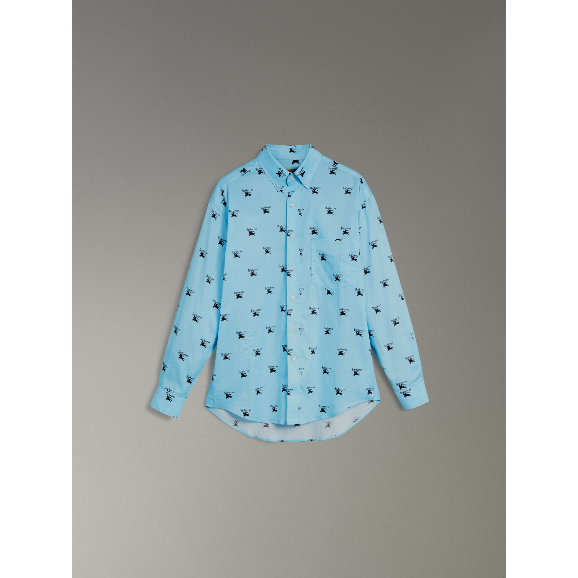 Button-down Collar Logo Print Cotton Shirt in Sky Blue - Men | Burberry - gallery image 3