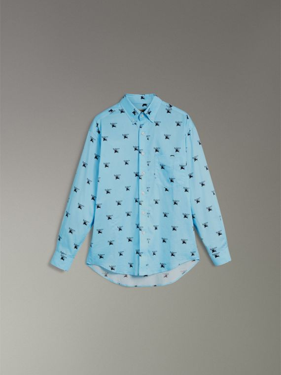 Button-down Collar Logo Print Cotton Shirt in Sky Blue - Men | Burberry - cell image 3