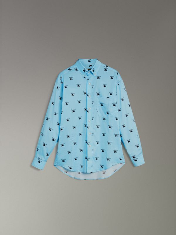Button-down Collar Logo Print Cotton Shirt in Sky Blue - Men | Burberry Singapore - cell image 3