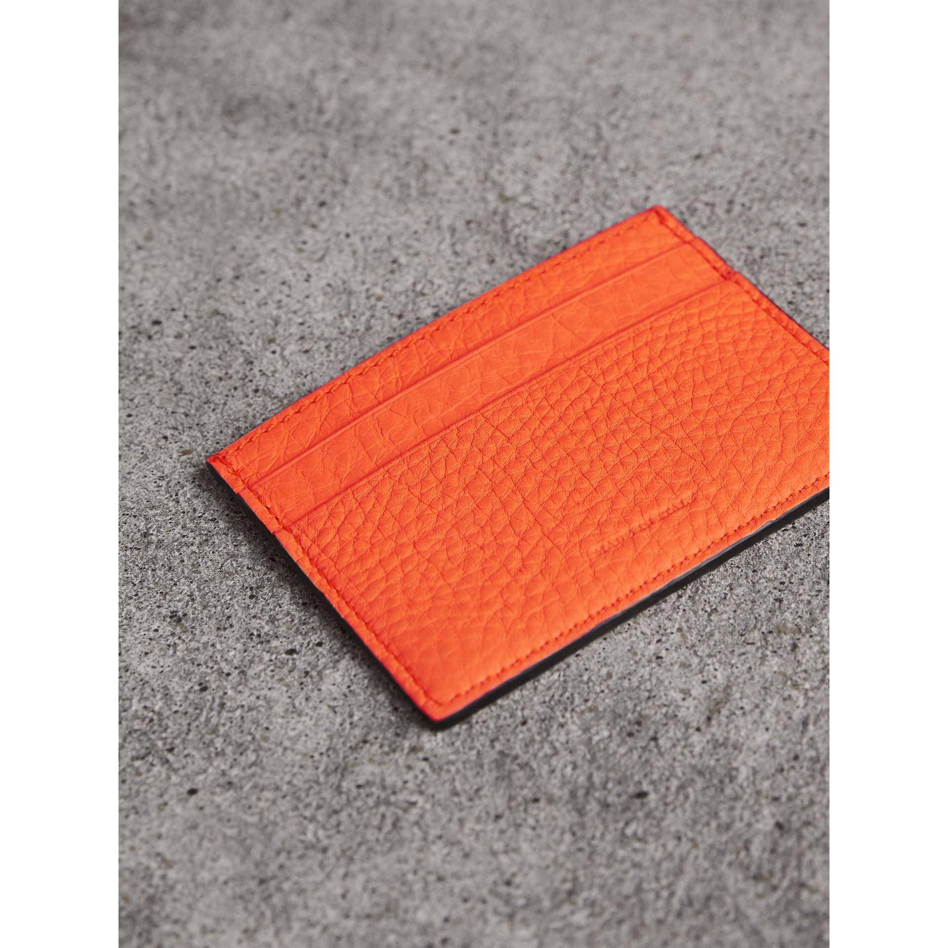 Embossed Textured Leather Card Case in Neon Orange | Burberry - gallery image 2