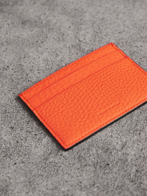 Embossed Textured Leather Card Case in Neon Orange | Burberry - cell image 2