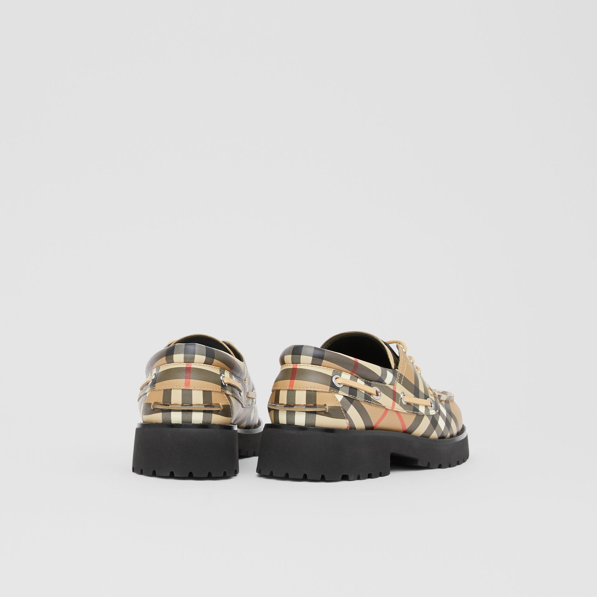 Vintage Check Leather Boat Shoes in Archive Beige - Children | Burberry - gallery image 2