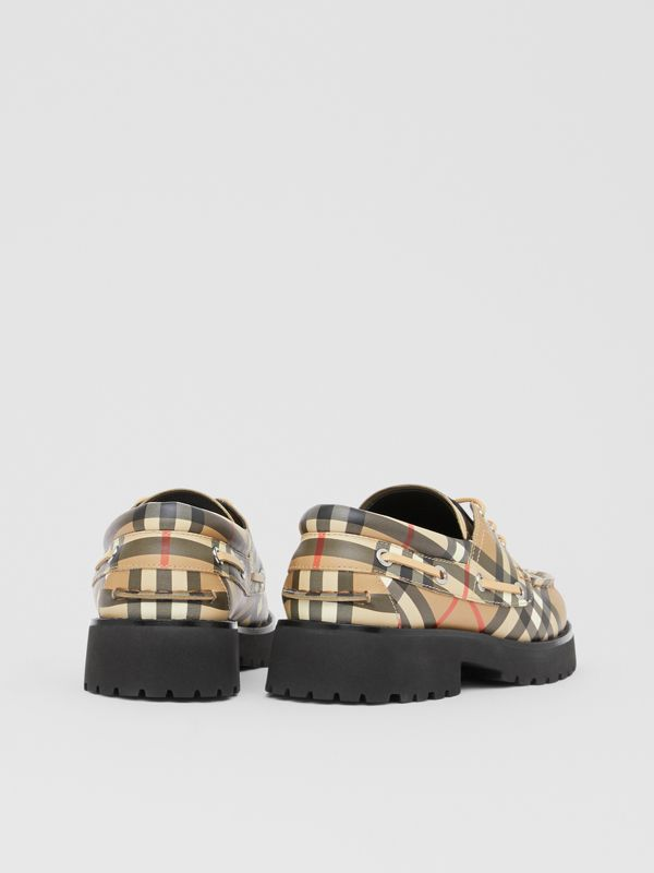 Vintage Check Leather Boat Shoes in Archive Beige - Children | Burberry - cell image 2