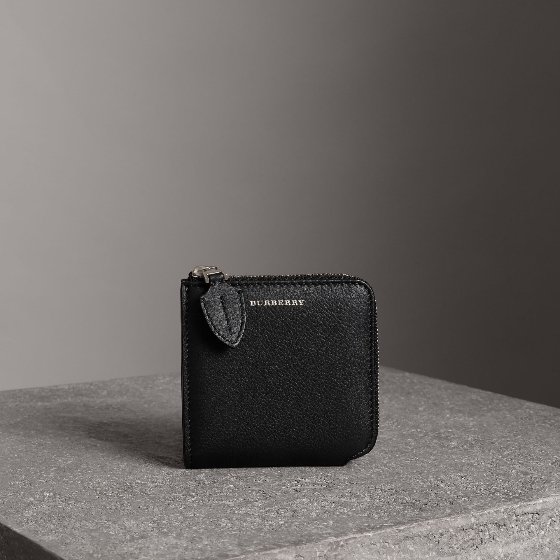 Grainy Leather Square Ziparound Wallet in Black - Women | Burberry - gallery image 0