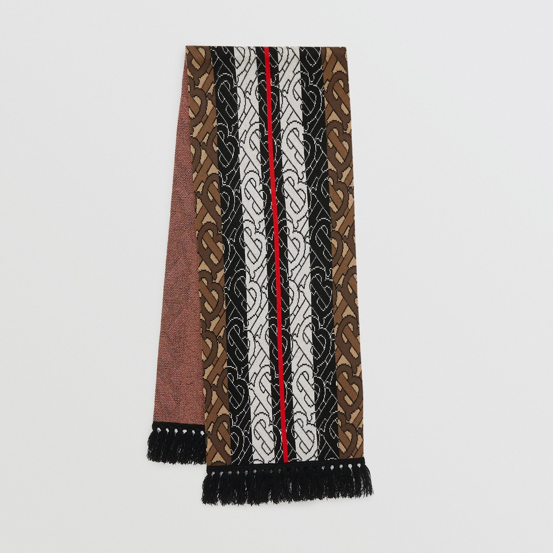 Monogram Stripe Cashmere Scarf in Brown | Burberry United Kingdom - gallery image 0