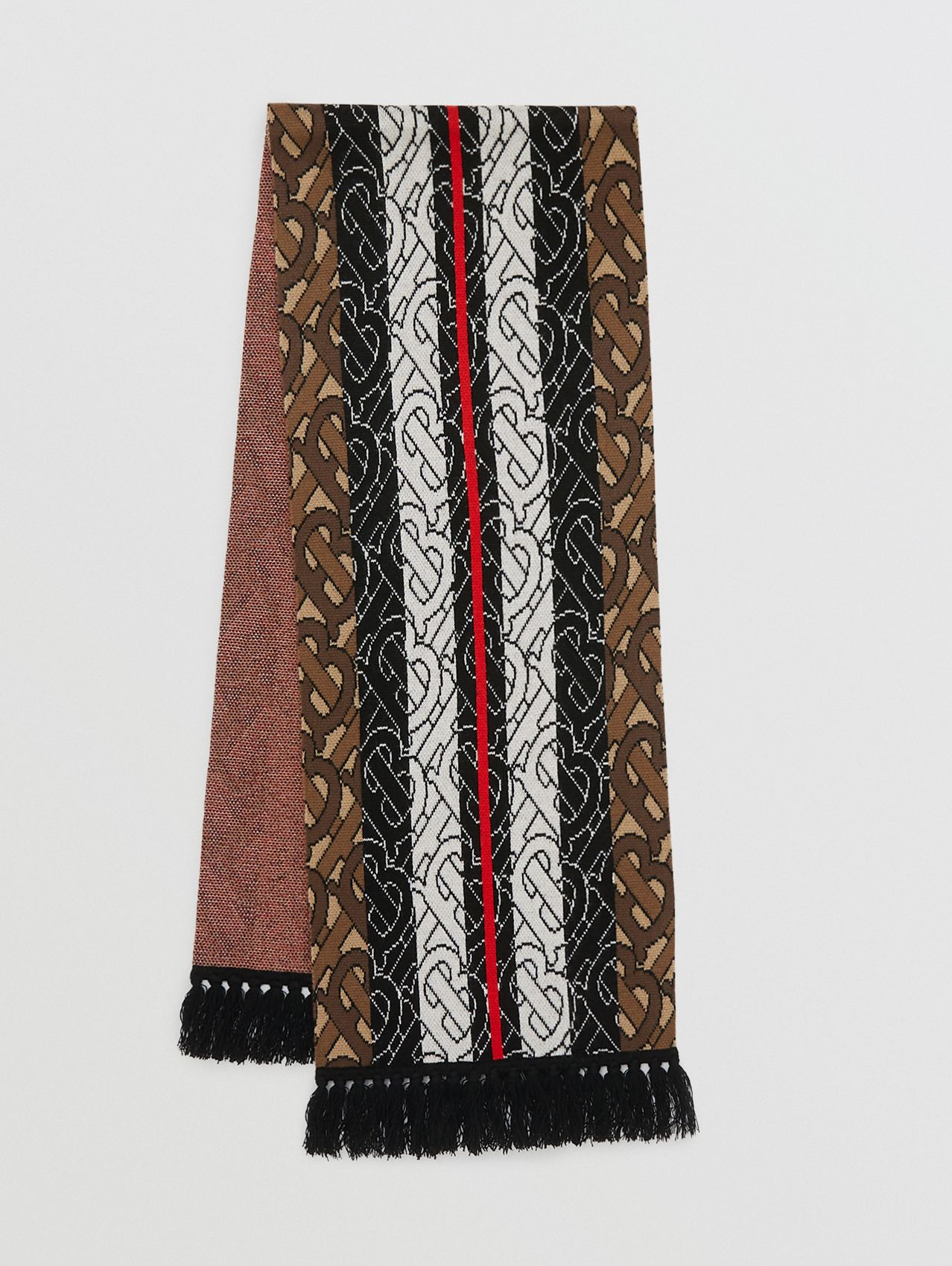 Monogram Stripe Cashmere Scarf in Brown