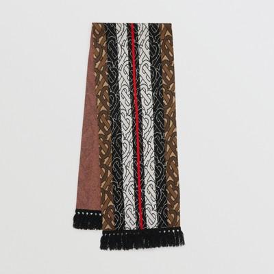 Monogram Stripe Cashmere Scarf In Brown Burberry